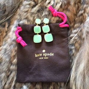 kate spade Gold with Green Stone Drop Earrings